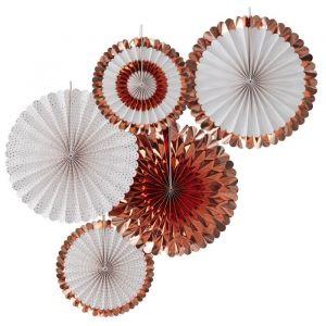 Paperfans roségoud-wit (5st) Pick & Mix Rose Gold