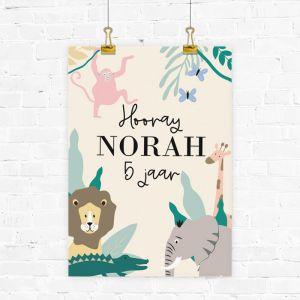 Verjaardag poster safari