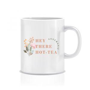 mok gepersonaliseerd hey there hot-tea met droogbloemen