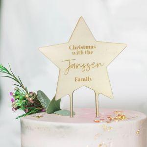 Gepersonaliseerde houten kersttaarttopper ster