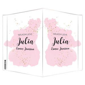 Geboortebord watercolor glitter roze