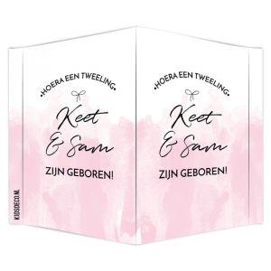 Geboortebord tweeling watercolor roze