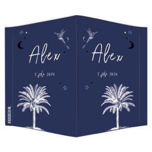 Geboortebord palmboom donkerblauw