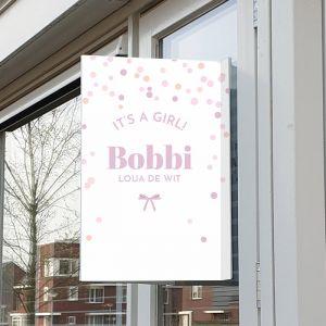 Geboortebord happy dots meisje