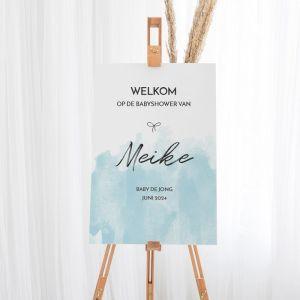Welkomstbord babyshower watercolor blauw