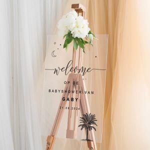Welkomstbord babyshower palmboom