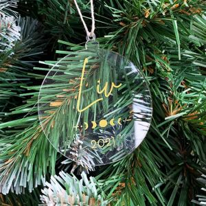 Gepersonaliseerde kersthanger maanfase gold met naam