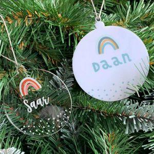 Gepersonaliseerde kersthanger regenboogje