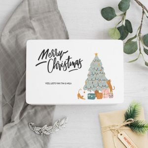 Witte houten kerstbox christmastree