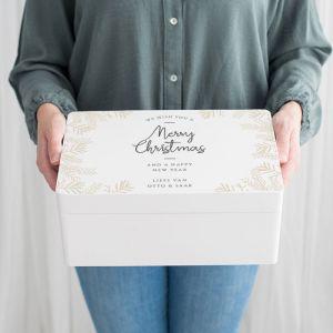 Witte houten kerstbox takjes