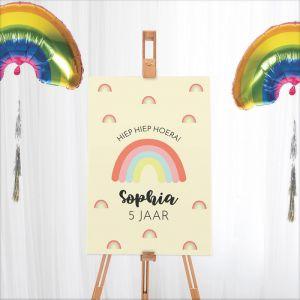Welkomstbord verjaardag rainbow