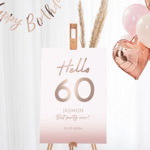 Welkomstbord verjaardag hello 60