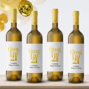 Wijnfles etiketten verjaardag omg 21