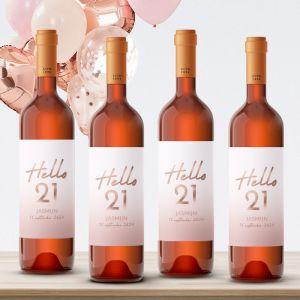 Wijnfles etiketten verjaardag hello 21