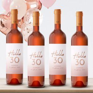 Wijnfles etiketten verjaardag hello 30