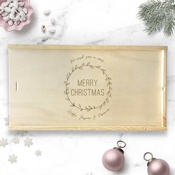 Gepersonaliseerde houten kerstkist