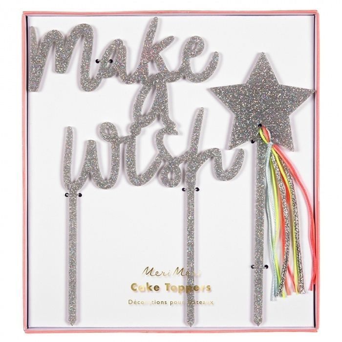 Taarttopper Acryl Zilver Make A Wish