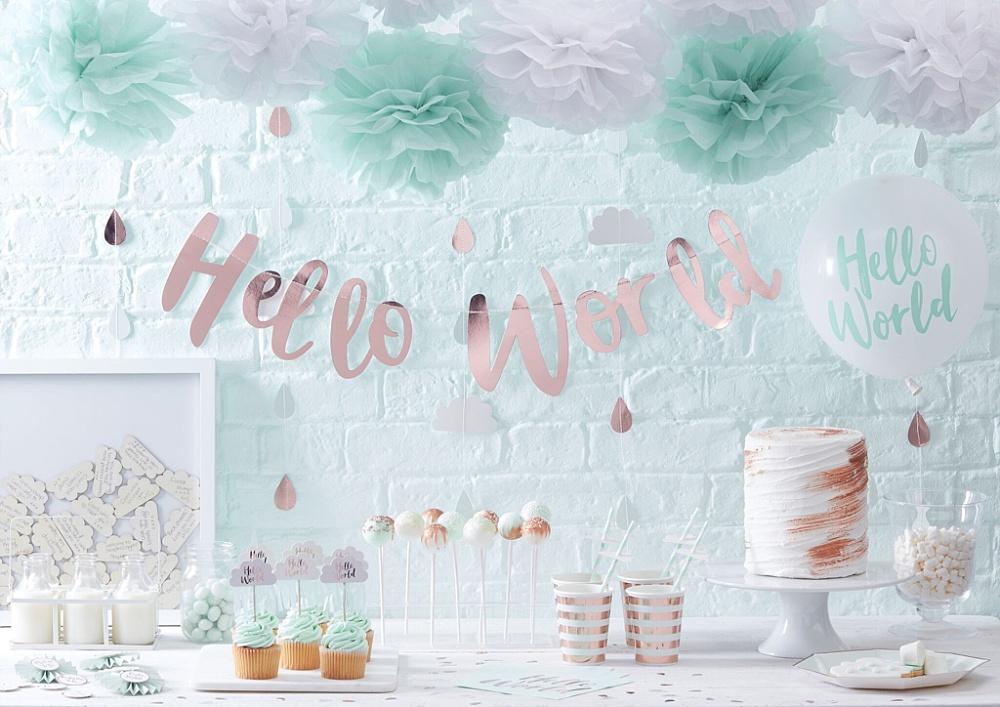 Hello world babyshower collectie - Trendkleur: decoratie voor een roségoud feestje