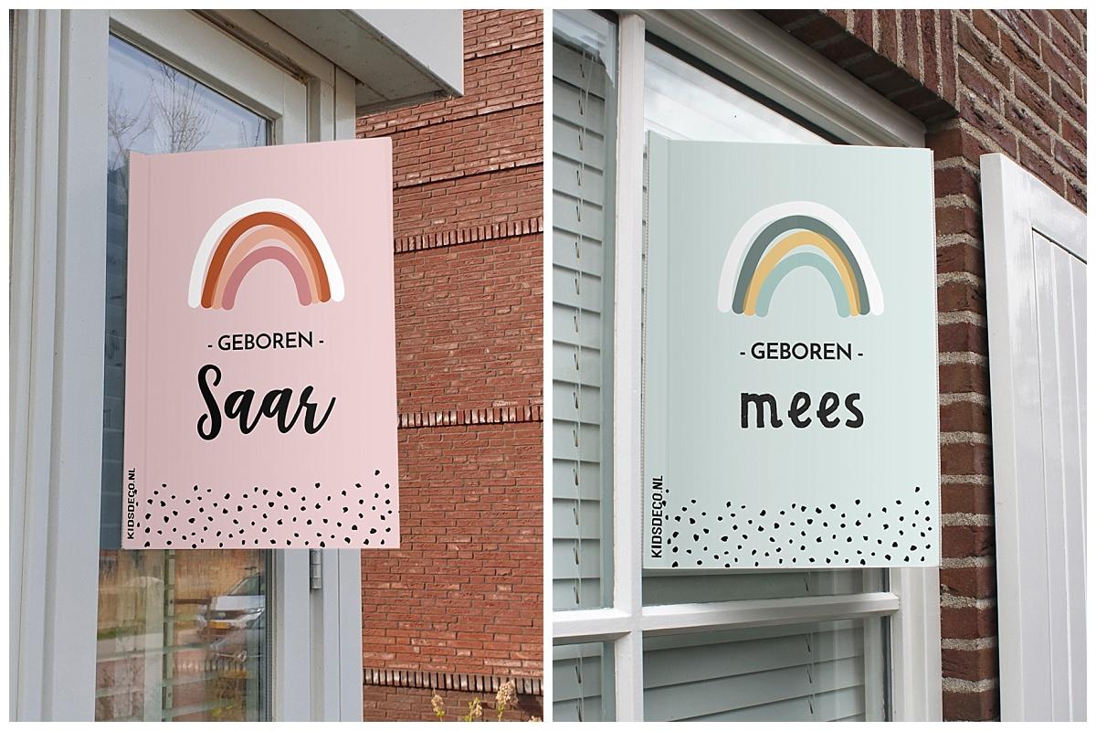 Regenboog geboorteborden, partydeco.nl